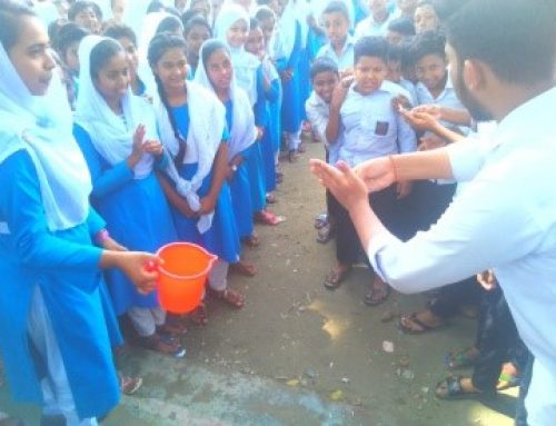 Hand-washing session by Joymontop High School Nutrition Club at Joymontop High School, Singair, Manikganj